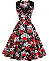 ZAFUL Women's Vintage Sleeveless Dress 50s Style Polka Dot Party Elegant Cocktail Rockabilly Swing Dress