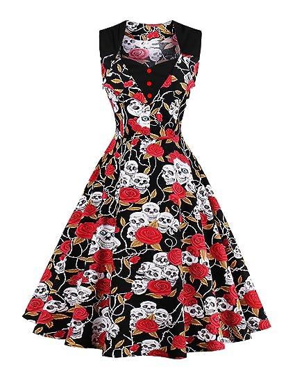 ZAFUL Women's Vintage Sleeveless Dress 40s Style Polka Dot Party Classy 50s Style Dress Patterns