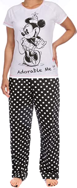 Women Ladies Minnie Mouse Character Pyjamas Nightwear PJs Short Sleeve Red