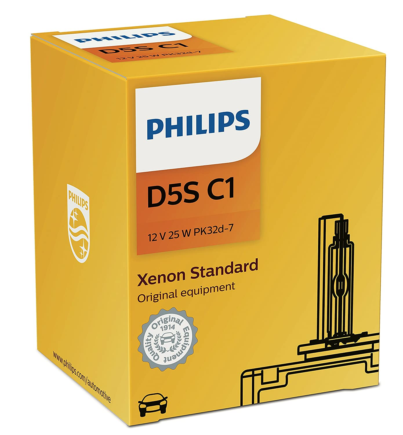 Philips D5S Standard Authentic Xenon HID Headlight Bulb, 1 Pack