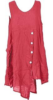 8e9f0c0a5c TEXTURE Ladies Womens Italian Lagenlook Sleeveless Button Front Back  Asymmetric Linen Tunic Dress One Size