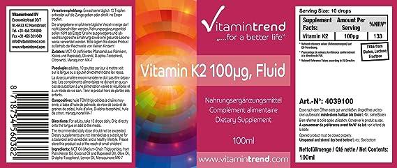 Vitamina K2 Líquida - - 100μg - 100ml - tratamiento para un año: Amazon.es: Salud y cuidado personal