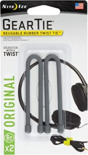 """product image for Nite Ize GT6-2PK-09 Original Gear Twist Tie, 6"""" - 2-Pack, Charcoal"""