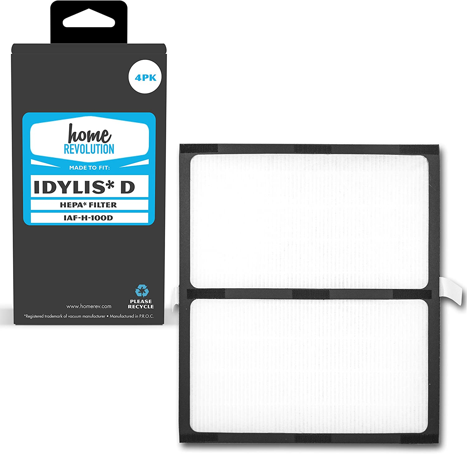 Home Revolution 4 Replacement HEPA Filters, Fits Idylis IAP-10-280 Air Purifiers and Type D Part IAF-H-100D