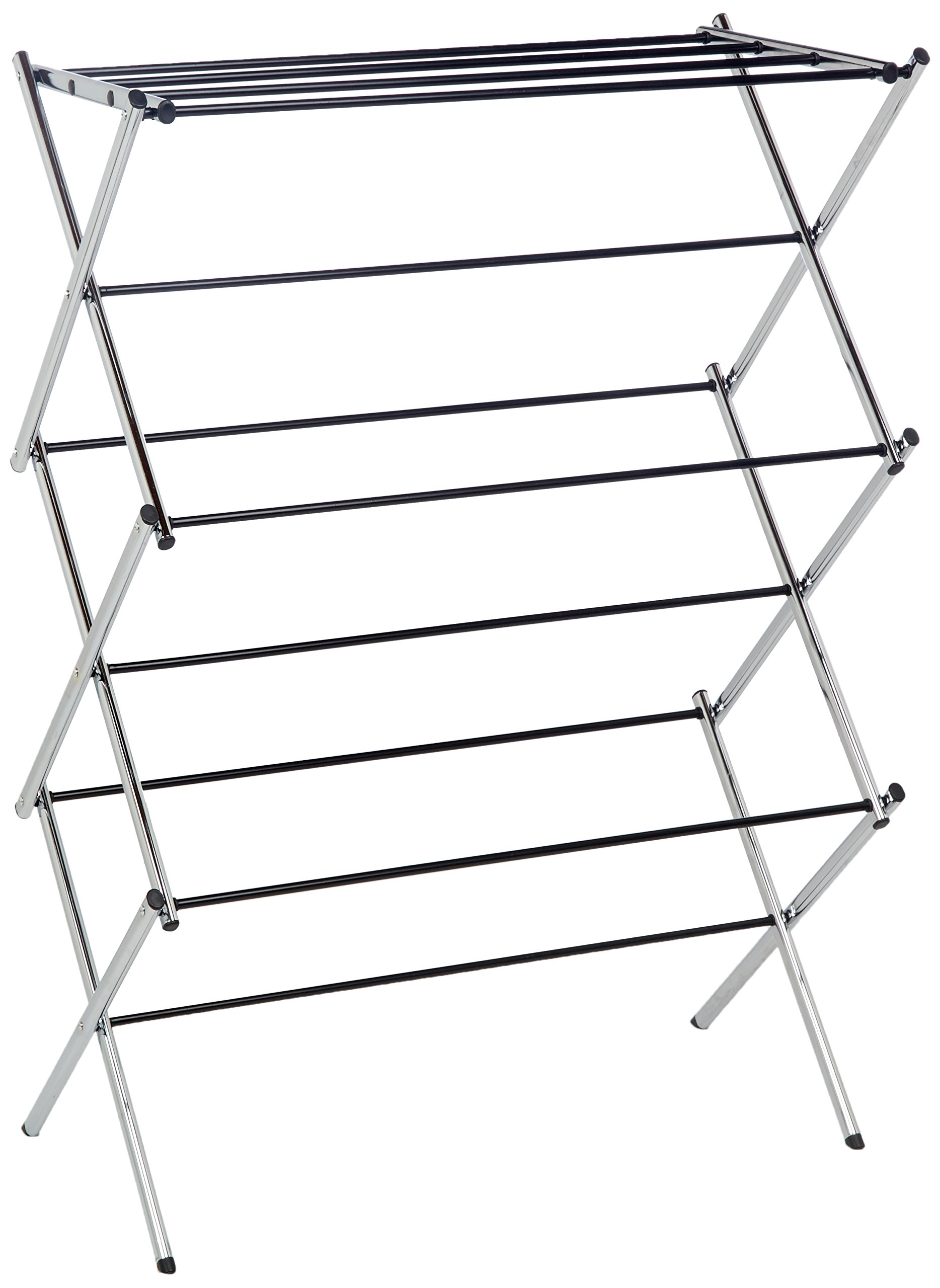 AmazonBasics Foldable Clothes Drying Laundry Rack - Chrome - Clothes drying rack for energy savings and gentle drying so your clothes last longer Made of durable yet lightweight steel that is easy to move from room to room Accordion design folds flat for compact storage - laundry-room, entryway-laundry-room, drying-racks - 81T2KtBCpaL -