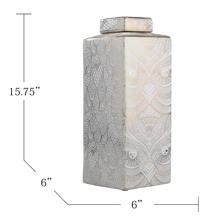 White//Gold Ceramic 6 x 6 x 8 Inches Sagebrook Home 12058-01 Decorative Ceramic Covered Jar