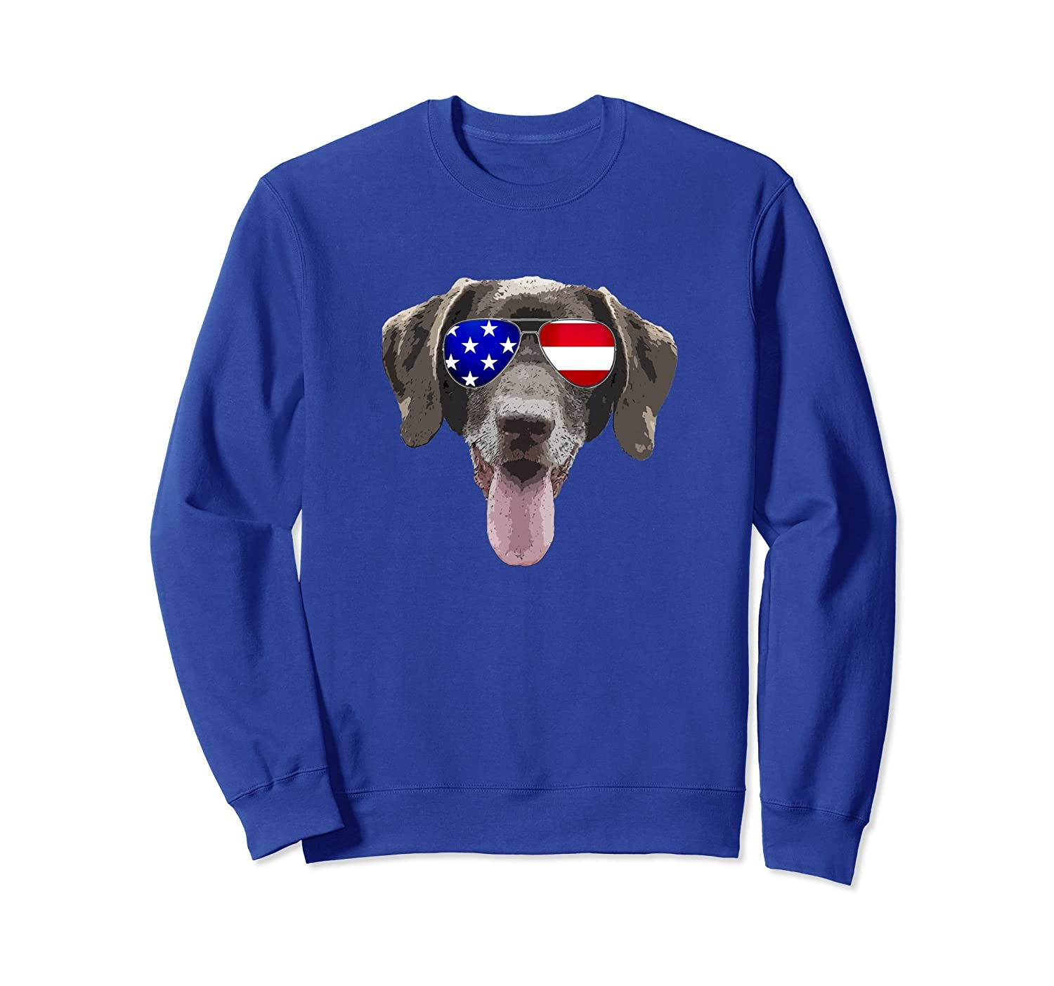 Chocolate Lab Dog Sweatshirt with USA flag sunglasses-AZP