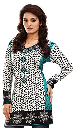 065c0fae4075fe Maple Clothing India Long Tunic Top Kurti Womens Printed Indian Apparel ( White, S)