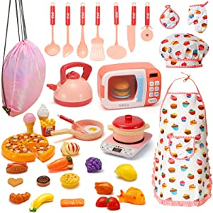 AIMIDA Kitchen Play Set 38 PCS Kids Pretend Play Toys Electronic Oven Microwave Induction Cooker with Play Food,Cooking Utensils and Chef Hat Kitchen Pretend Play Toy Bakeware and Cookware Girls