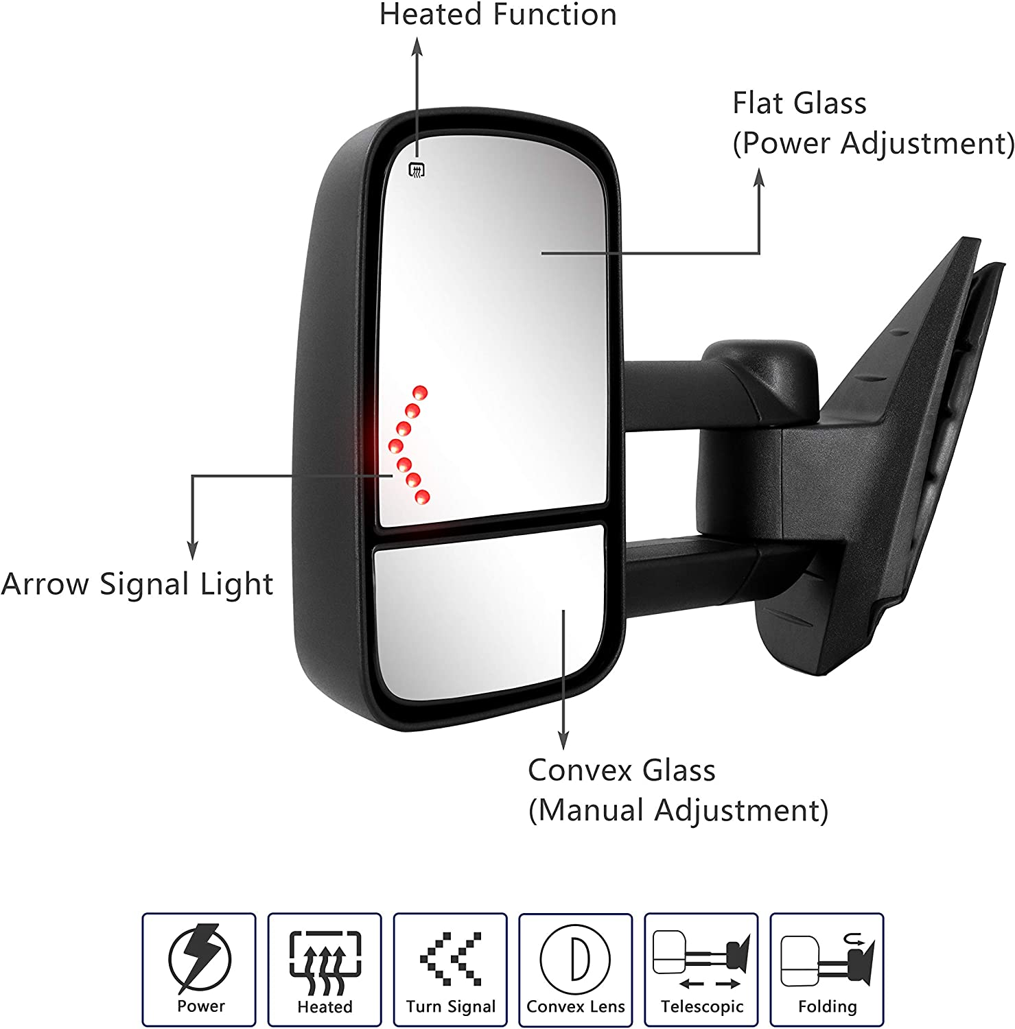 2014 Silverado GMC Sierra 2500HD 3500HD tow mirrors with Power Glass Heated Turn Signal Lights Extendable Pair Set Painted White (8624) Towing Mirrors fit for 2007-2013 Chevy Silverado GMC Sierra