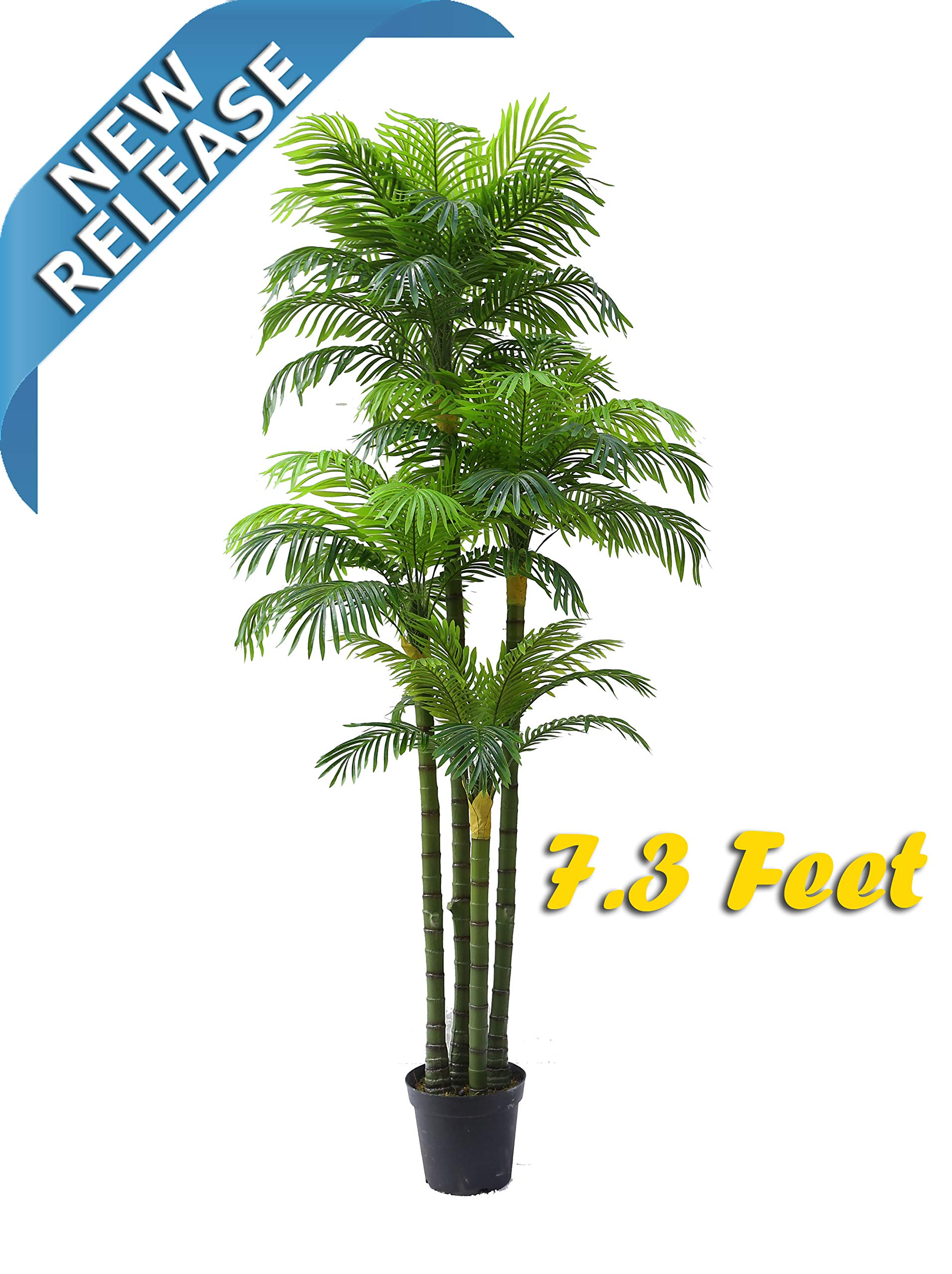 AMERIQUE Massive and Dense Exotic 7.3' Tropical Phoenix Palm Tree Artificial Silk Plant with UV Protection, with Nursery Plastic Pot, Feel Real Technology, Super Quality, Feet, Green by AMERIQUE