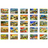 GREETINGS FROM 50 American states vintage reprints postcard set (ca. 1930-1940's). Large letter name postcards of each U…