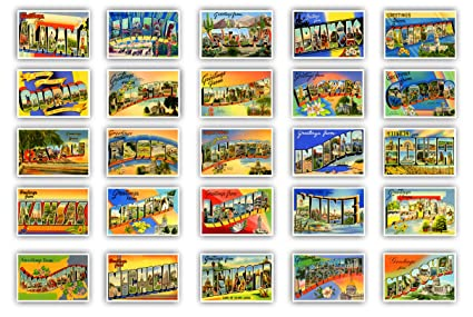 Amazon greetings from 50 american states vintage reprints greetings from 50 american states vintage reprints postcard set ca 1930 1940s m4hsunfo