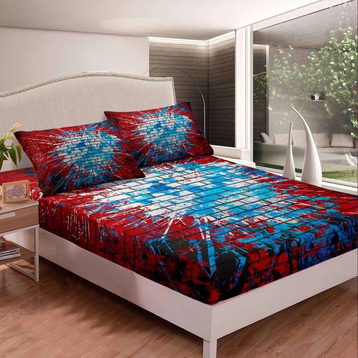 Hip Hop Decor Bedding Set Graffiti Brick Wall Bed Sheets for Kids Boys Girls Street Culture Theme Bed Sheet Set Red Blue Tie Dye Fitted Sheet Bedroom Collection 3Pcs Full Size
