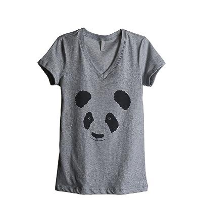 Thread Tank Panda Face Women's Relaxed V-Neck T-Shirt Tee