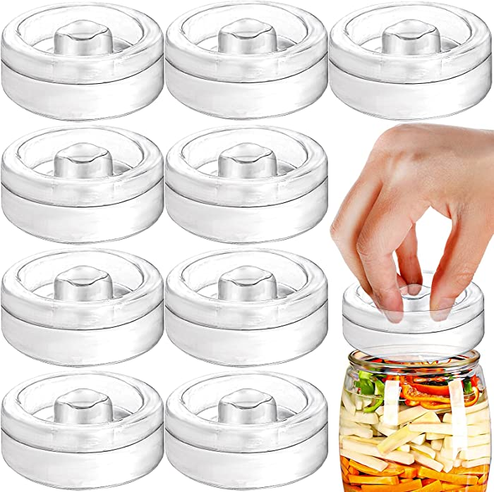 Yesland 9 Pack Fermentation Glass Weights with Easy Grip Handle, 2-3/4 x 2-3/4 x 1 Inch Fermentation Weights for Wide Mouth Mason Jar, Ideal for Fermenting Sauerkraut, Vegetables, Pickles and Other Fermented Food