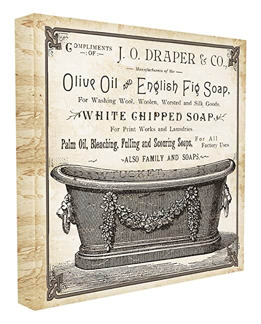 Amazon.com: Stupell Home Décor Old English Tub Olive Oil and Fig Soap Stretched Canvas Wall Art, 17 x 1.5 x 17, Proudly Made in USA: Home & Kitchen