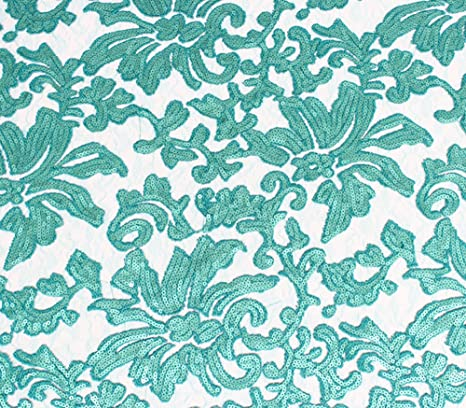 """Sold by the yard Lace Fabric Sequin Guipure Floral Beyonce AQUA GREEN 51/"""" Wide"""