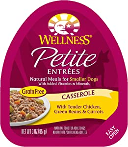 Wellness Petite Entrees Natural Grain Free Wet Small Breed Dog Food, 3-Ounce Cup (Pack Of 24) Casserole Chicken