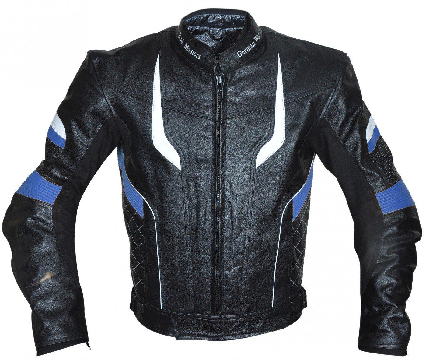 Germanwear - veste de moto en cuir, 4 combinaisons de couleurs : rouge, bleu, jaune, gris, taille : 3XL, couleur : rouge 4combinaisons de couleurs : rouge German Wear GW417J