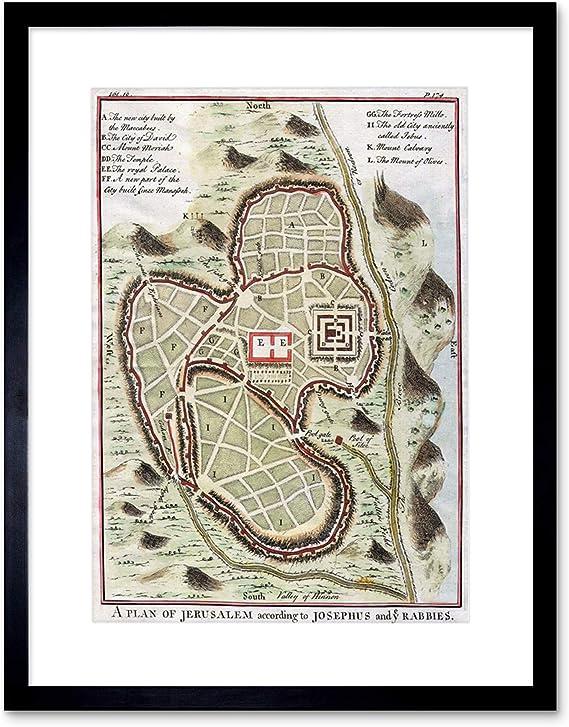 Mapa Antiguo USA North South America 12X16 pulgadas impresión arte enmarcado