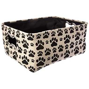 """Winifred & Lily Pet Toy and Accessory Storage Bin, Organizer Storage Basket for Pet Toys, Blankets, Leashes and Food in Printed """"Dog Paws"""", Beige/Black"""