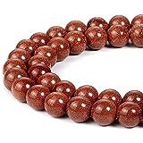 天然圆形半珍贵宝石松散石珠用于珠宝制作手链项链 Goldstone 10mm roundbeads001