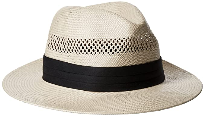 e736df93 SCALA Men's Fine Vent Toyo Fedora with Ribbon, Natural Large at Amazon Men's  Clothing store: