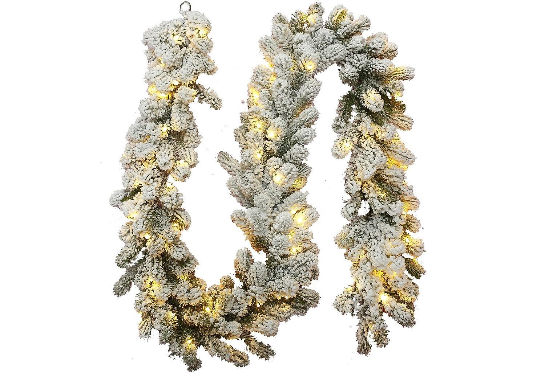 Unlit KING OF CHRISTMAS 9 x 12 King Flock Garland Wreaths ...