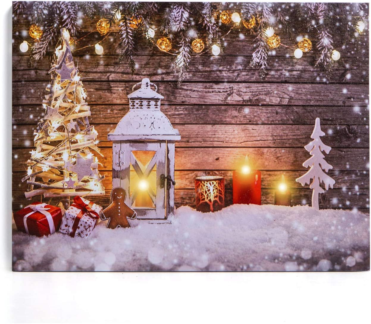 "NIKKY HOME 16"" x 12"" Decorative Christmas LED Lighted Canvas Wall Art Prints Tree and Candles Picture Winter Snow Scene for Holiday Decor"