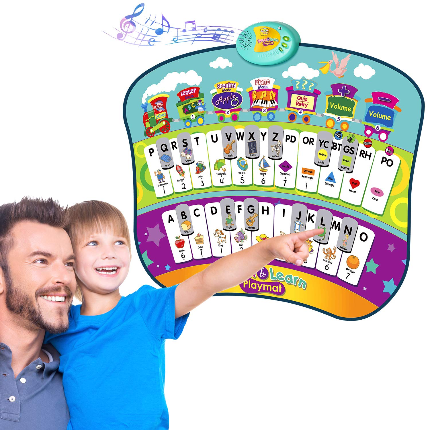 TECBOSS Electronic Learning Mat Interactive Educational Toys for Toddler 2 to 4 Year Old Talking Alphabet Poster for Learning ABC /& Music