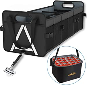 Car Trunk Organizer with Insulated Cooler Bag Removable, 3 Compartments Black Large Storage Capacity,Reinforced Durable Handles,3 Adjustable Straps,No-Slip Velcro of Bottom,for SUV,Truck,Automotive