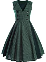Minifaceminigirl Women's 1950's Rockabilly Vintage Pin up Swing Cocktail Party Dress