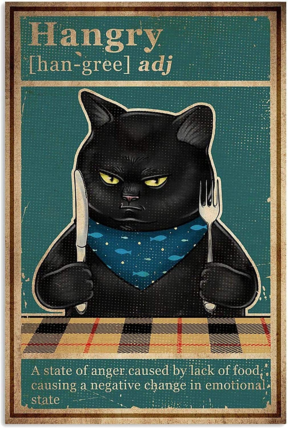 Cats Poster Cat Cat Hangry Caused by Lack of Food Funny Black Cat Wall Art Hanging Poster Painting Paper Photography Abstract Watercolor Living, Bedroom, Home Decor, No Fram Poster W0ZJ (12