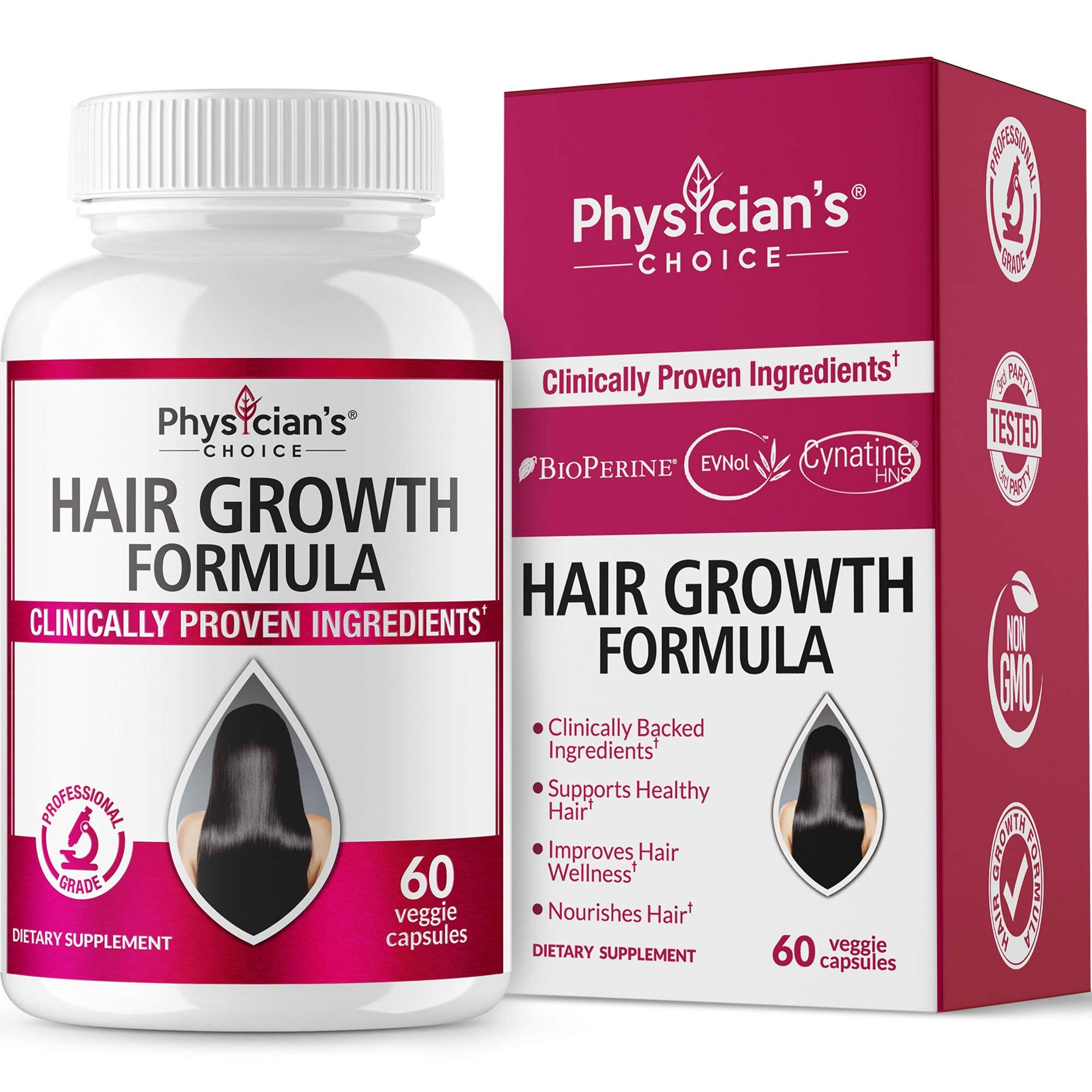 Hair Growth Vitamins (Clinically Proven Ingredients) Award Winning Keratin, Biotin and More, Proven Hair Vitamins for Faster Healthier Hair Growth - Hair Loss & Thinning Supplement for Women & Men by Physician's CHOICE