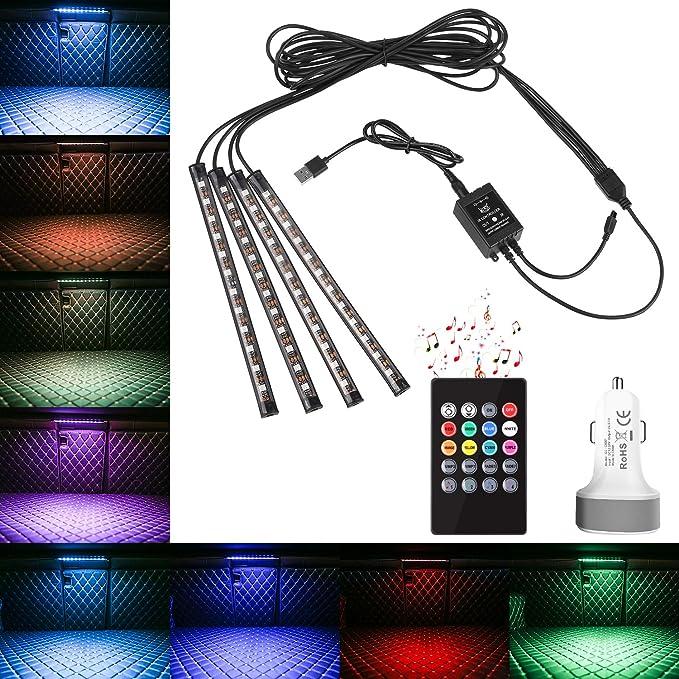 7 opinioni per MVPOWER LED Auto Interni Kit,Automobile 4 Strisce,con LED Multicolori,Controllo