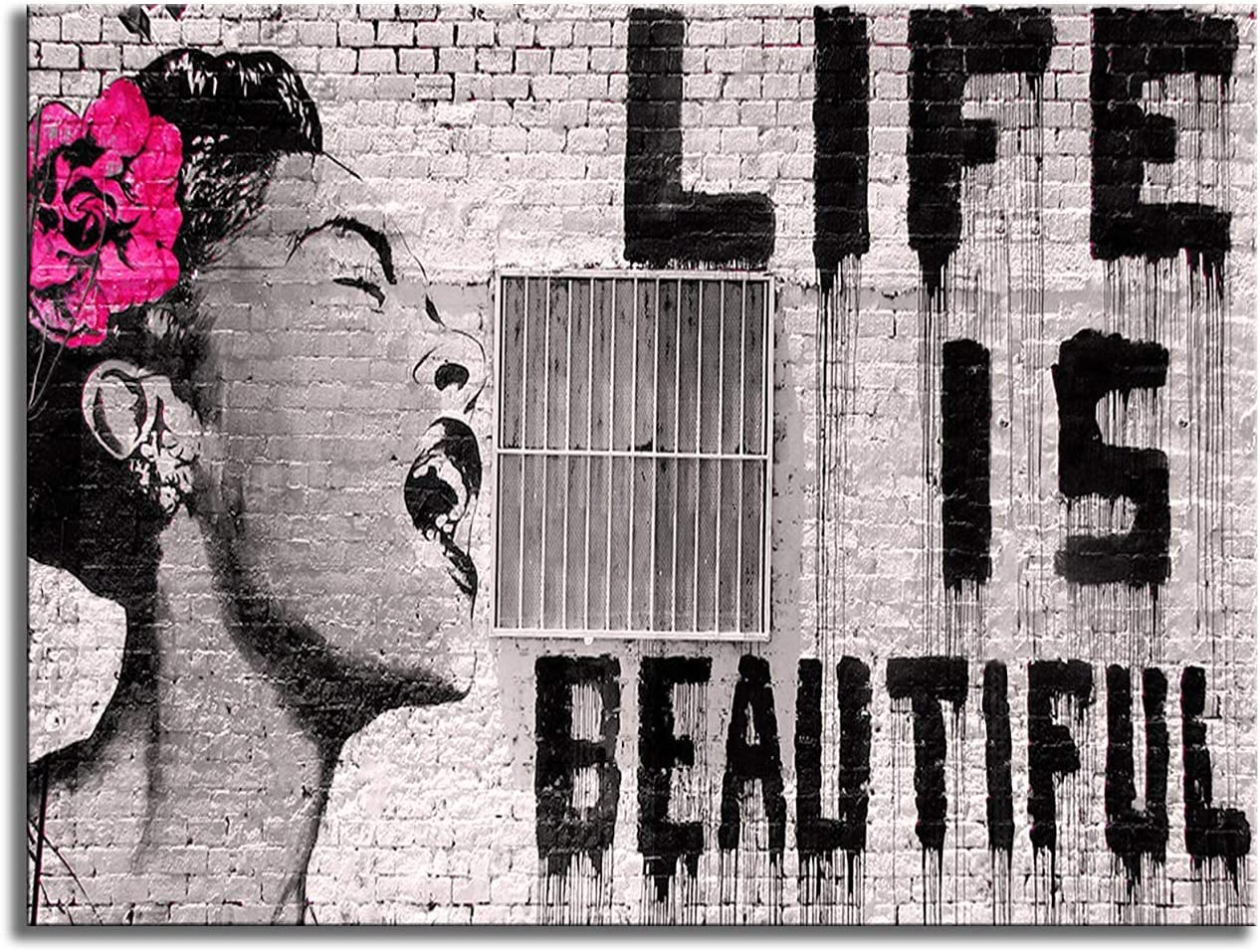 Wieco Art Canvas Prints Of Banksy Life Is Beautiful Modern Stretched And Framed Giclee Artwork Grey Love Pictures Paintings On Canvas Wall Art For Bedroom Home Office Decorations Amazon Co Uk Kitchen Home