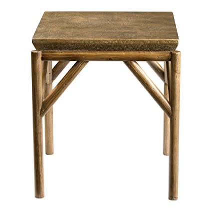 Rustic Tribal Weathered Wood End Table | Accent Side Lodge Tropical  Furniture
