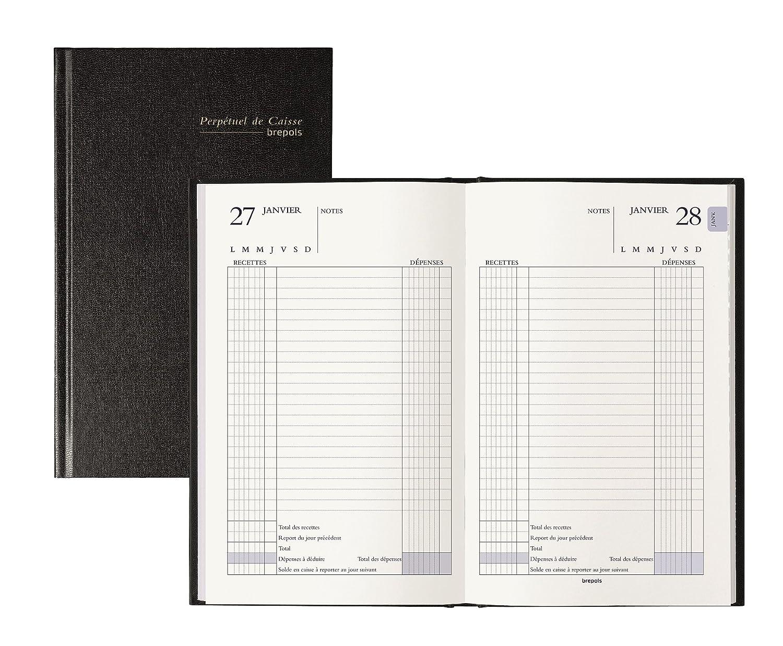 BREPOLS Agenda de caisse journalier perpétuel 133 x 210 mm Euros et cents Noir