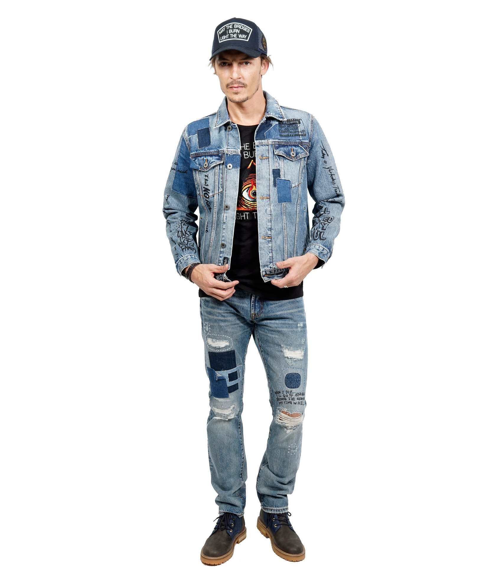 Cult of Individuality Men's Rocker Slim Moto Straight Denim Jean, Hasher, 34 by Cult of Individuality