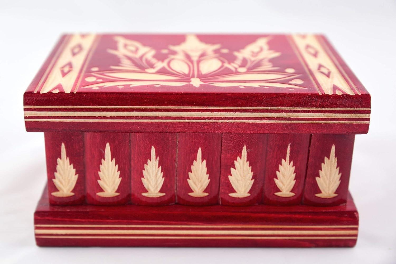 Hidden Compartment Safe Stash Puzzle Jewelry Box Lock Key Wood Brain Teaser Gift Idea Keepsake Red
