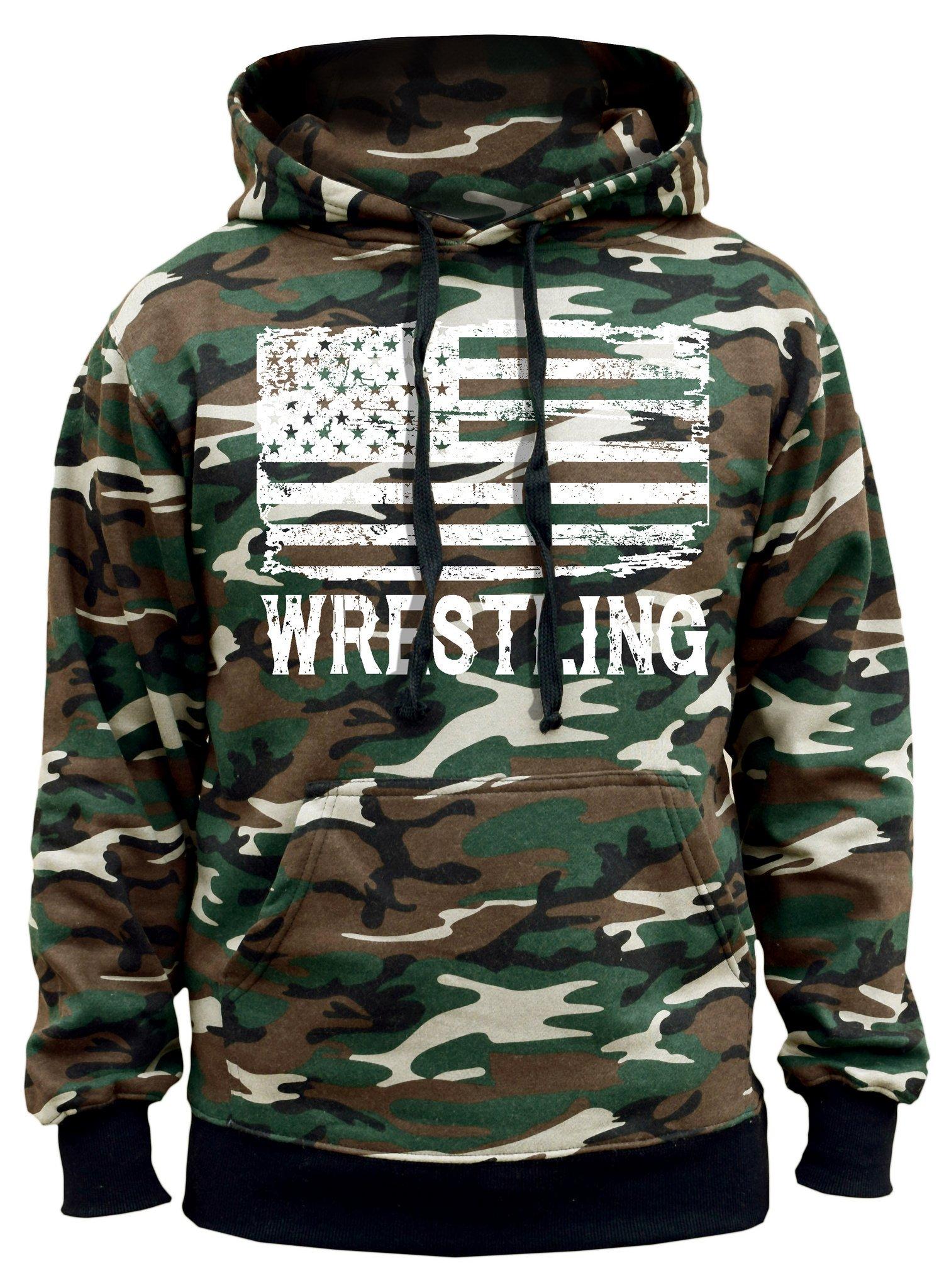 Interstate Apparel Men's Wrestling American Flag Camo Hoodie Large