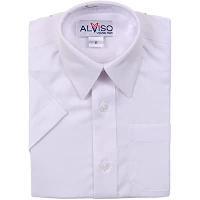 ALVISO Boys Short Sleeves Textured Dress Shirt - T601-BOSR