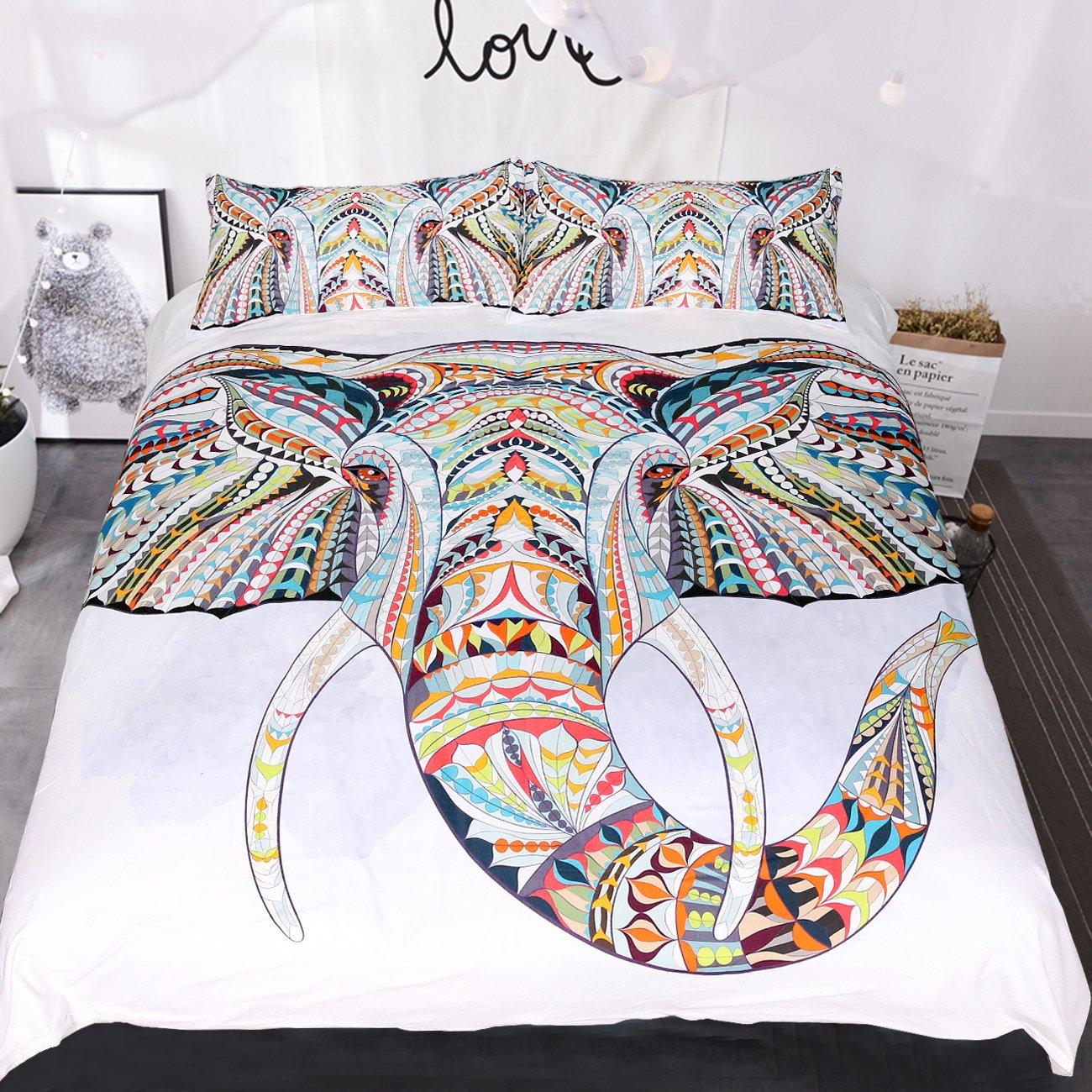 Sleepwish 4 pcs bohemian Bedspread Ethnic Elephant Tree Duvet Cover Exotic BohoDuvetCover Elephant Bed Set Cal-King Size Youhao SBS010258005