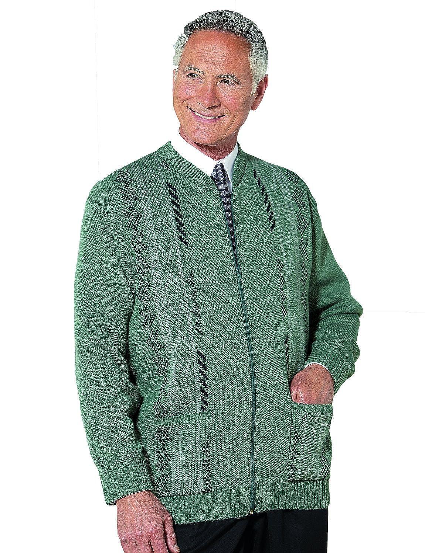 Benbrook Vertical Jaquard Zip Up Cardigan With Pockets