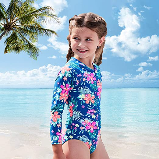 Sun Protection Swim Shirts Bathing Suit 3-14 Years Girls Long Sleeve Rash Guard One Piece Swimsuits Kids UPF 50