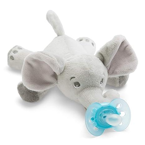 Philips Avent Peluche con chupete SCF348/13 - Peluche de elefante con chupete ultra soft, sin BPA, 0-6 meses