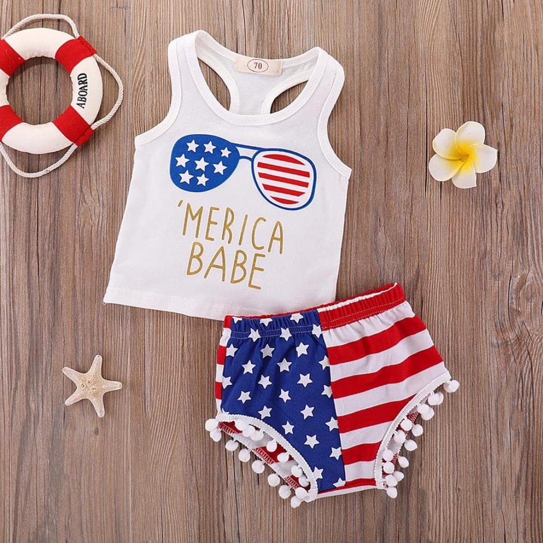 Winsummer Baby Boys Girls Merica Babe Stars Striped Vest Tops+USA Flag Shorts 4th of July Independence Day Outfits