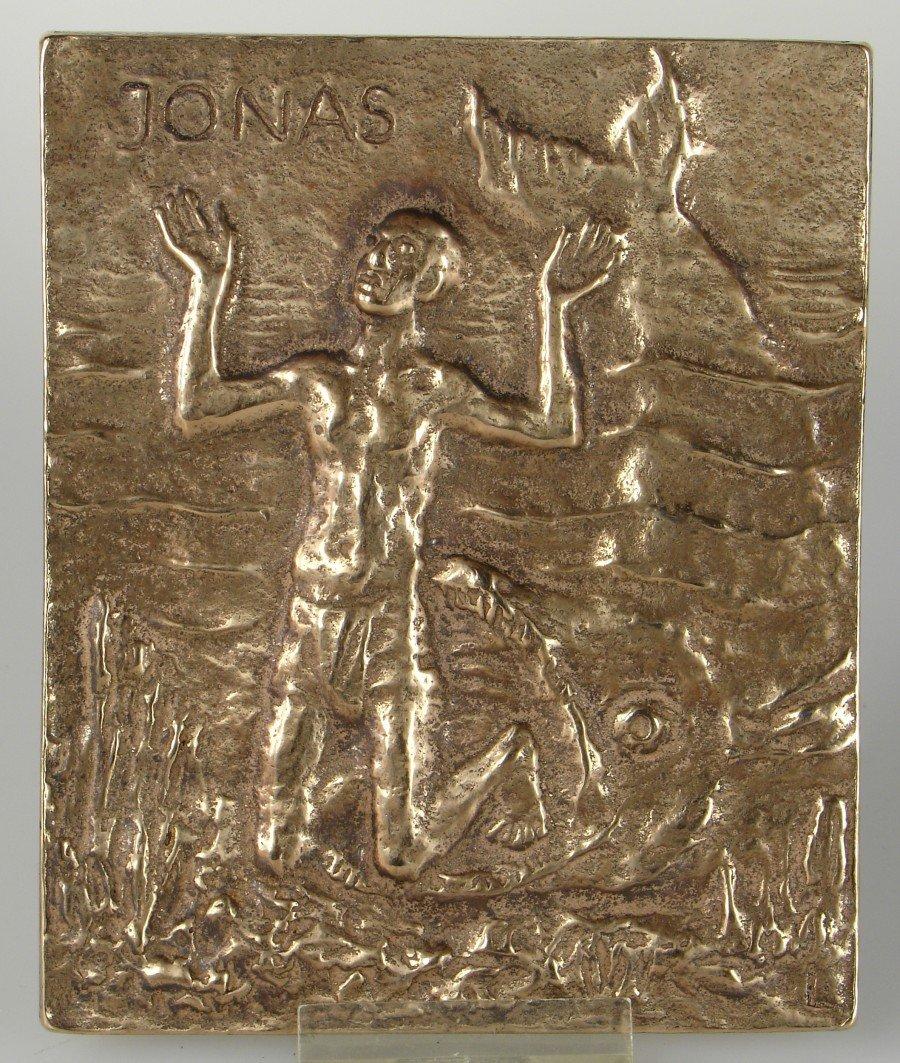 13x10 cm Bronze Relief Heiliger Jonas