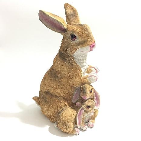 Beautiful Posee Garden Bunny Outdoor Decor Sculptural Mama Rabbit Statue Lawn Ornament